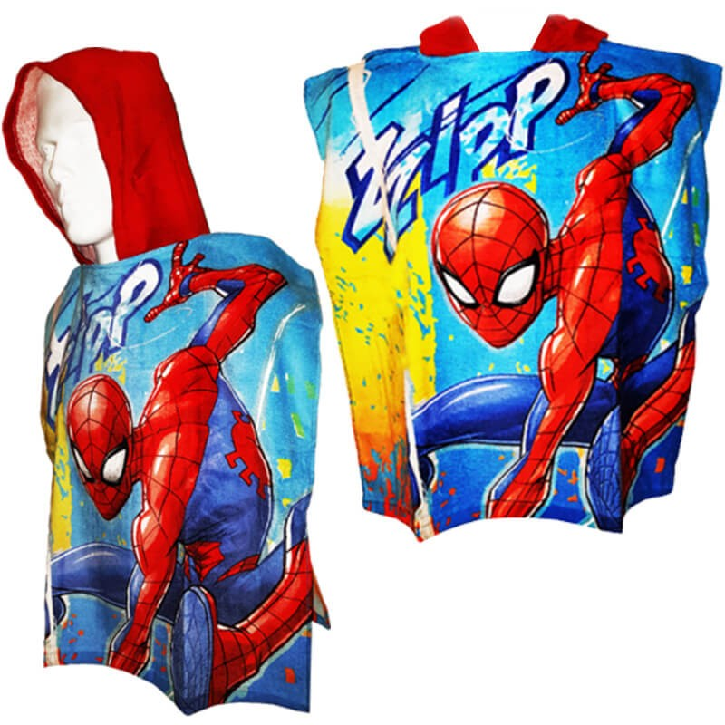 Marvel Spiderman Bath Towel With Hood Bath Beach Poncho Spider Man