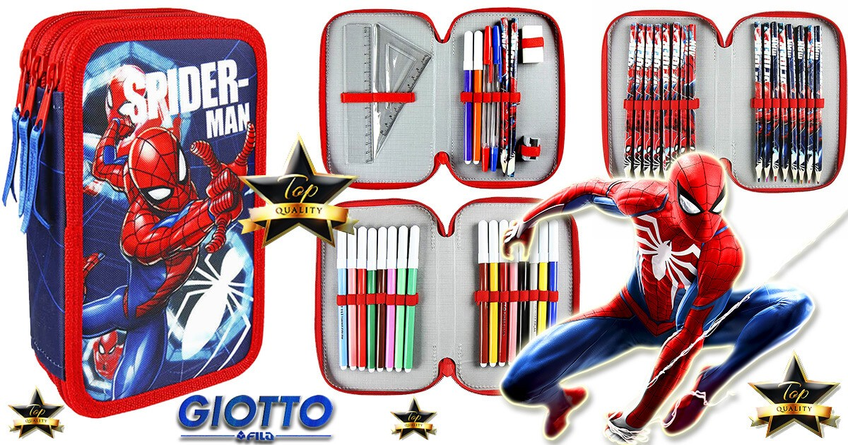 Spider Man Pencil Case Triple Fully Equipped Branded Felt Tips Markers GIOTTO