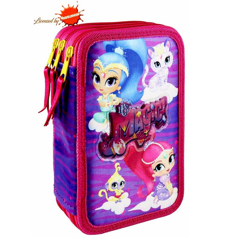 SHIMMER AND SHINE PREMIUM PENCIL CASE TRIPLE FULLY EQUIPPED PENCIL CASE SET