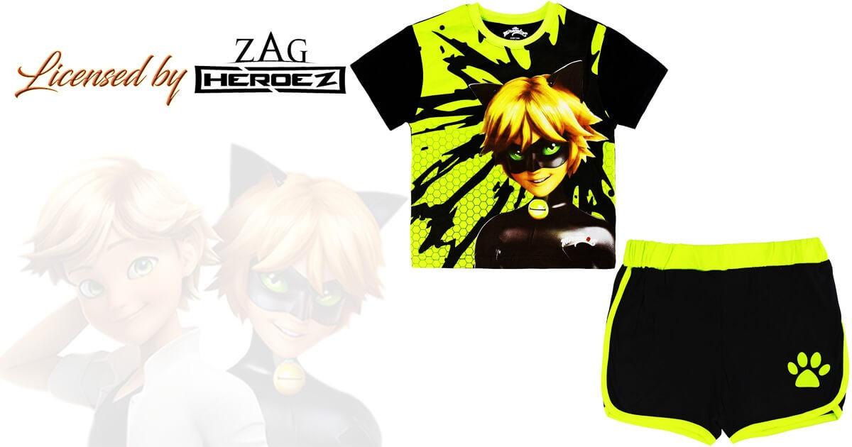 Boys Ladybug Miraculous T-shirt  ADRIEN CAT NOIR ZAG Licensed T-shirt Cat Noir