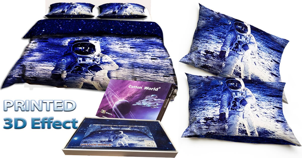 Set of images of the bedding set with spaceship and universe bedding set made of polyester double bed size