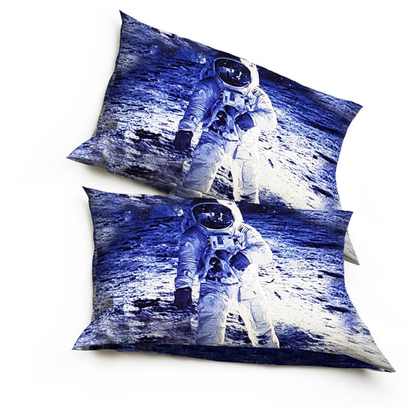 TWO PILLOWCASES MAN ON THE MOON